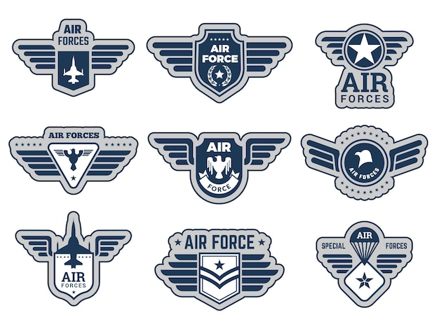 Air force insignia. vintage army badges military symbols eagle wings and weapons vector illustrations set