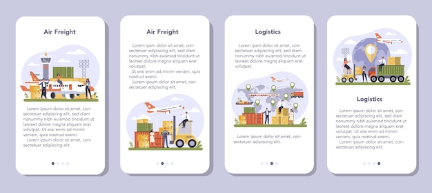 Air freight and logistic industry mobile application banner set