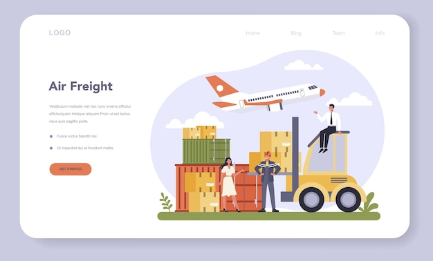 Air freight and logistic industry web banner or landing page illustration