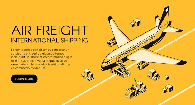 Air freight logistics illustration of airplane and parcels on forklift truck or loader pallet