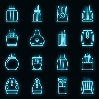 Набор иконок освежитель воздуха. наброски набор векторных иконок освежитель воздуха неонового цвета на черном