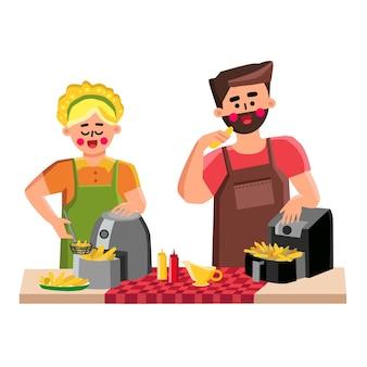 キッチンベクトルでフライドポテトを調理するエアフライヤー。エアフライヤー電子機器で野菜を調理する若い男性と女性。キャラクター、ソース、調理済みの食事フラット漫画イラスト