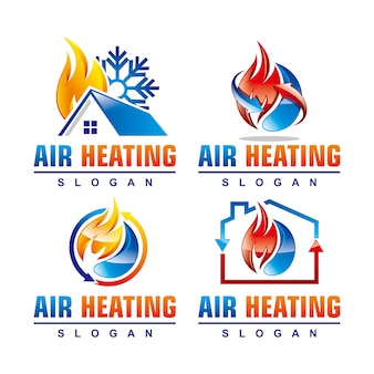 Air heating service logo template set