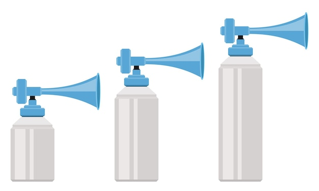 Air horn set in flat style
