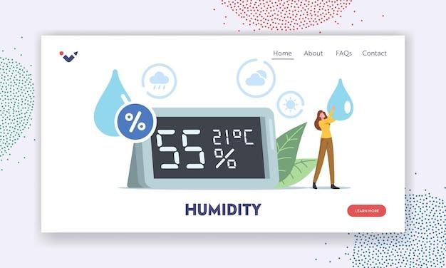 대기 습도 방문 페이지 템플릿. 손에 물방울이 있는 작은 여성 캐릭터는 거대한 습도계 쇼 미기후 대기 데이터에 서 있습니다. 사람들은 온습도계를 사용합니다. 만화 벡터 일러스트 레이 션