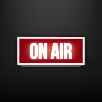 On air live glowing tv, radio station, broadcast.