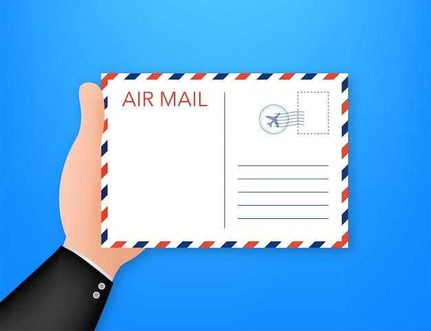 白い背景で隔離の郵便切手と航空便の封筒。ベクトルイラスト。