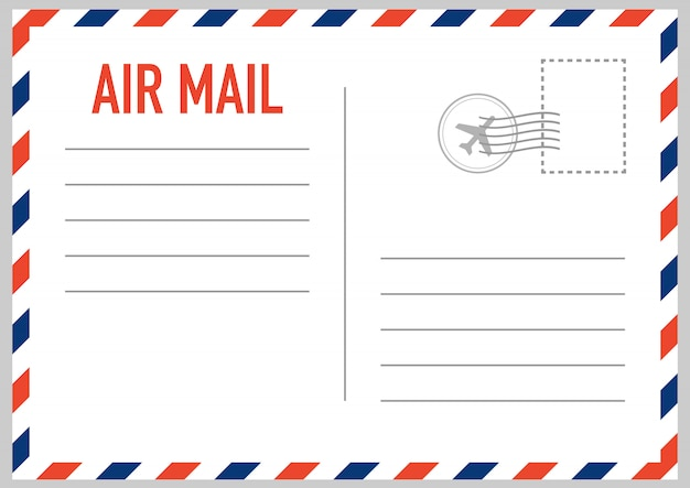 Air mail envelope with postal stamp isolated on white background.