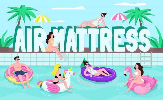 Air mattresses word concepts  color  banner. people on inflatable rings.  typography with tiny cartoon characters. pool summer party creative illustration on turquoise