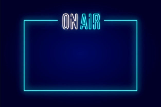 On air neon frame con spazio vuoto