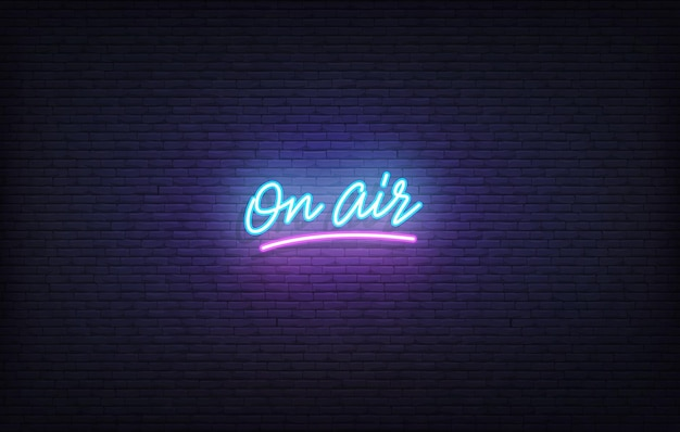 On air neon sign. glowing neon lettering on air template.