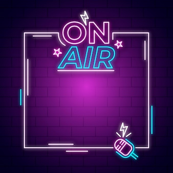 On air neon sign with frame