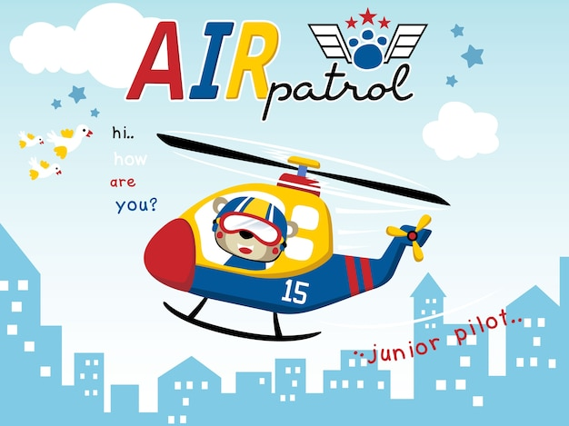 Air patrol with funny pilot cartoon on helicopter