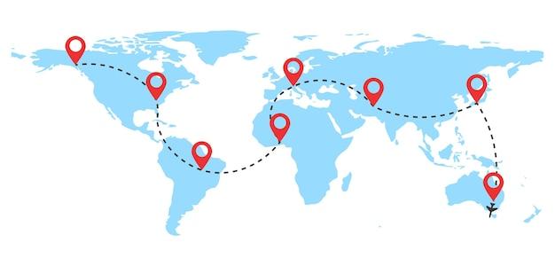 빨간색 핀 포인트와 파선 추적이있는 항공 비행기 비행 경로. 세계지도의 파선 경로.
