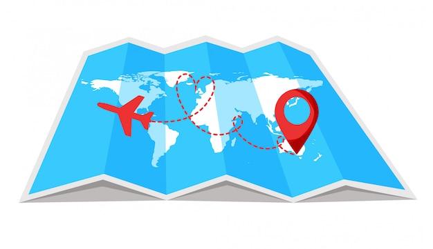 始点と破線のトレースがある飛行機の飛行ルート。それにピンポイントで世界旅行地図。ロマンチックな旅行、世界地図背景に破線のパス。図。