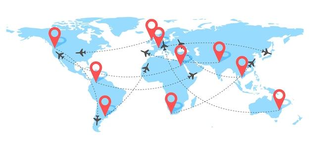 빨간색 핀 포인트와 대시 라인 추적이있는 항공 비행기 비행 경로 세계지도 배경에 점선 경로