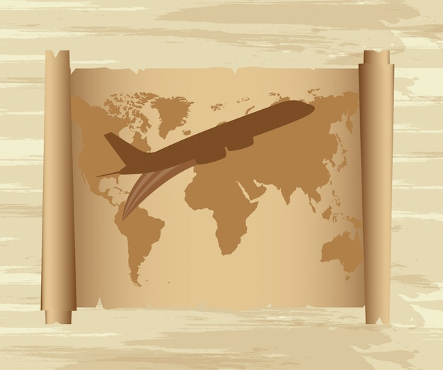 Air plane with map over old paper