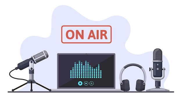 On air. podcast, radio broadcast, or audio streams, sound recording with microphone and headphones