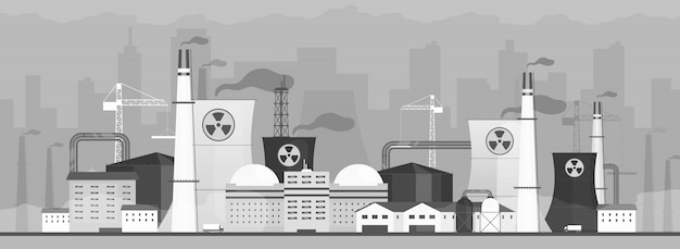 Air polluting factory  color  illustration. dangerous power plant  cartoon landscape with cityscape on background. industrial energy station fuming toxic waste. hazardous city smog problem