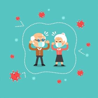 ウイルスから安全な防護マスクを身に着けている大気汚染概念年配のカップル