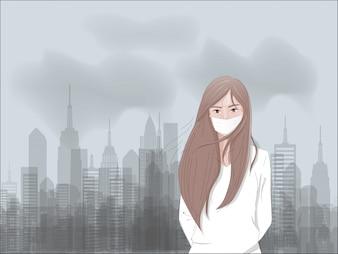 Концепция загрязнения воздуха с фабрикой и углекислым газом и маской унылой девушки нося.