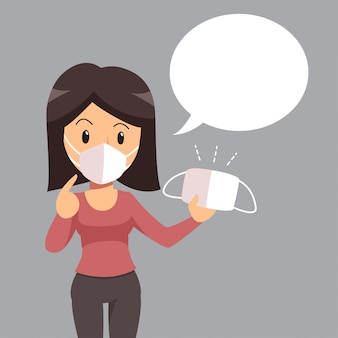 Air pollution concept woman wearing protective face mask and white speech bubble