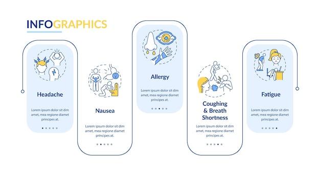 大気汚染の病気の兆候ベクトルインフォグラフィックテンプレート。頭痛、アレルギーのプレゼンテーションのデザイン要素。 5つのステップによるデータの視覚化。タイムラインチャートを処理します。線形アイコンのワークフローレイアウト