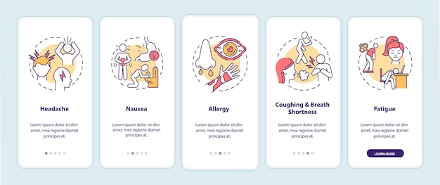 Air pollution disease symptoms onboarding mobile app page screen with concepts