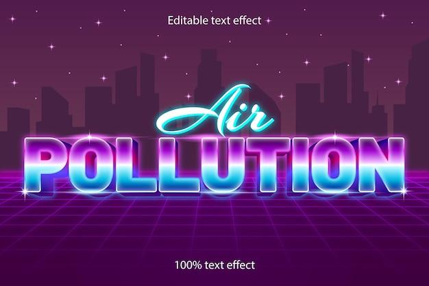 네온 스타일의 대기 오염 편집 가능한 텍스트 효과 복고풍
