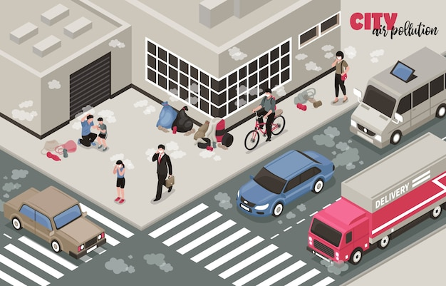 Air pollution illustration with city problems symbols isometric