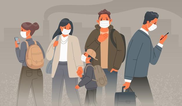 Загрязнение воздуха в промышленных городах. грустные люди в медицинских защитных масках на лицах на фоне дымящихся труб заводов. пыль и смог. векторные иллюстрации в мультяшном стиле