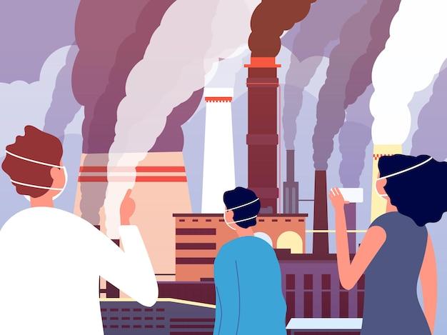 대기 오염. 사람들은 공장에서 연기 파이프를 생산하는 것처럼 보입니다. 중요한 환경. 보호 먼지 마스크 벡터 일러스트 레이 션에 남자 소녀입니다. 연기로 인한 환경 오염에 대한 남성과 여성의 시선