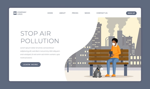 Air pollution problem landing page template. industrial emissions, gas waste contamination one page website flat design. man and dog in protective mask cartoon character inhaling smog and dust