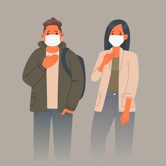 Загрязнение воздуха. печальный мужчина и женщина в медицинских масках на лице. защита органов дыхания от пыли и пыльцы. векторная иллюстрация в плоском стиле