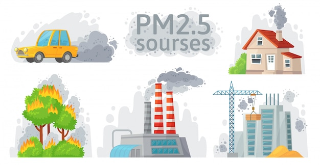 Air pollution source. pm 2.5 dust, dirty environment and polluted air sources infographic illustration