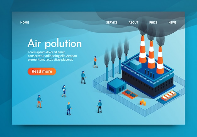 ベクトルイラストはair polution 3 dです。