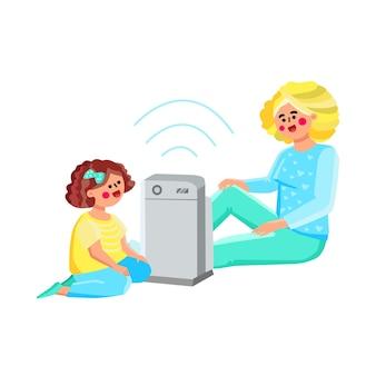 공기 청정기 청소 및 습윤 가제트 벡터입니다. 여자와 어린 소녀 아이 전자 장치 공기 청정기 근처 바닥에 앉아. 캐릭터 엄마와 딸 사용 장비 평면 만화 일러스트 레이 션