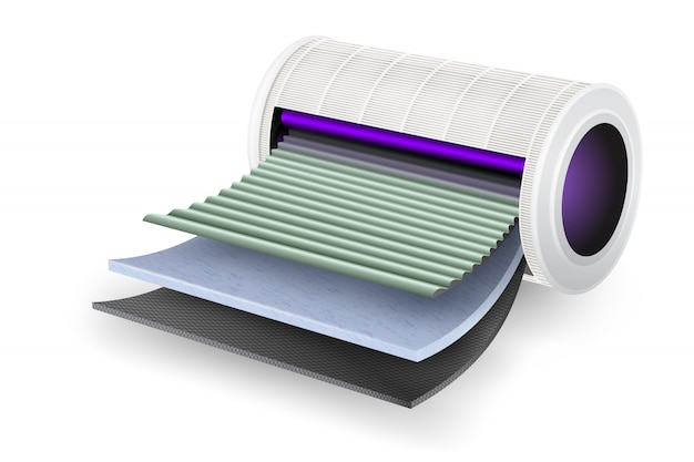 공기 청정기 필터 시트 자외선으로 바이러스를 죽입니다. 4 층 고급 기술 기능 탄소 소독 및 냄새, 특수 미세 섬유 필터, 신선한 공기 필터를위한 특수 필터 층.