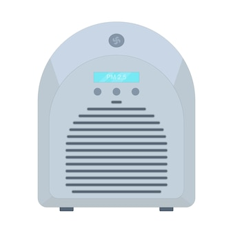 Air purifier filtration of viruses and dirty air pm 25 filter vector illustration in flat style