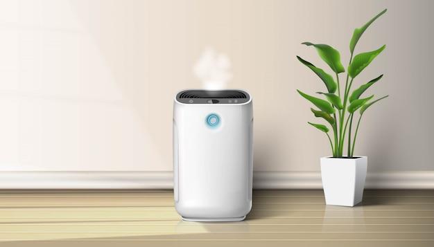 Очиститель воздуха в интерьере на деревянном полу фоновой иллюстрации с дома завод на полу. устройство для очистки и увлажнения воздуха для дома.