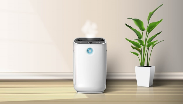 Air purifier in the interior on the wooden floor  background illustration with house plant on the floor. air cleaning and humidifying  devise for the house.