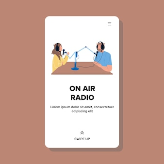 On air radio show man and woman discussing vector. young boy and girl with headphones speaking in microphone on air. characters media workers broadcasting together web flat cartoon illustration
