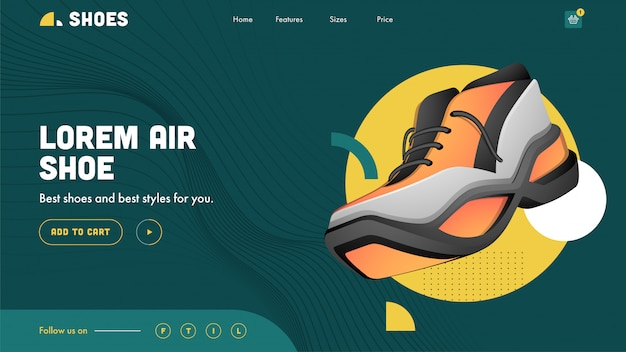 Air shoes landing page  in abstract wave striped green .