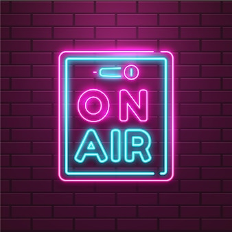 On air sign with neon frame