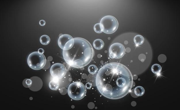 電球の透明なイラストにシャボン玉