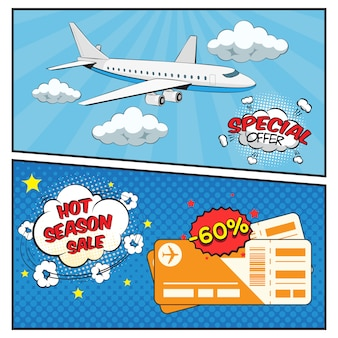 Air tickets sale comic style banner set