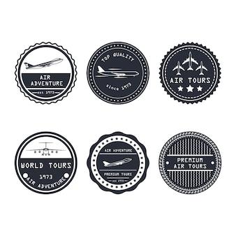 Air tour vector badge aircraft travel business