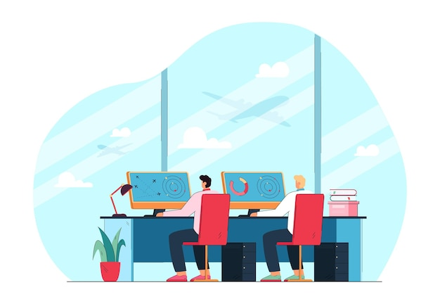 Air traffic control officers in front of monitors. flat illustration