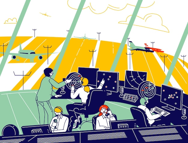 Air traffic controller team working with plane on runway. male and female characters wearing headset sitting in special area with radar and monitors control airplane. linear people vector illustration