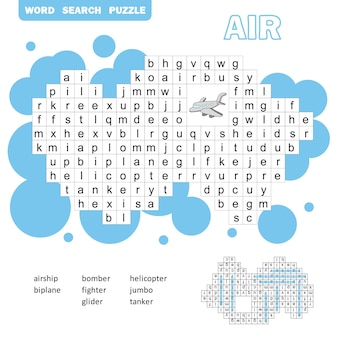 Air transport crossword game. search words game with answer for children. vector flat illustration